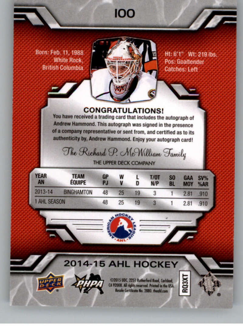 2014-15-Upper-Deck-AHL-Autographs-Stickers-Patch-Cards-Pick-From-List thumbnail 103
