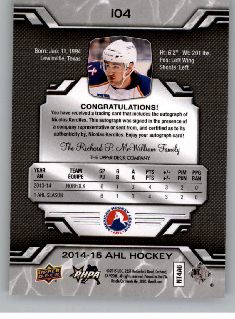 2014-15-Upper-Deck-AHL-Autographs-Stickers-Patch-Cards-Pick-From-List thumbnail 109