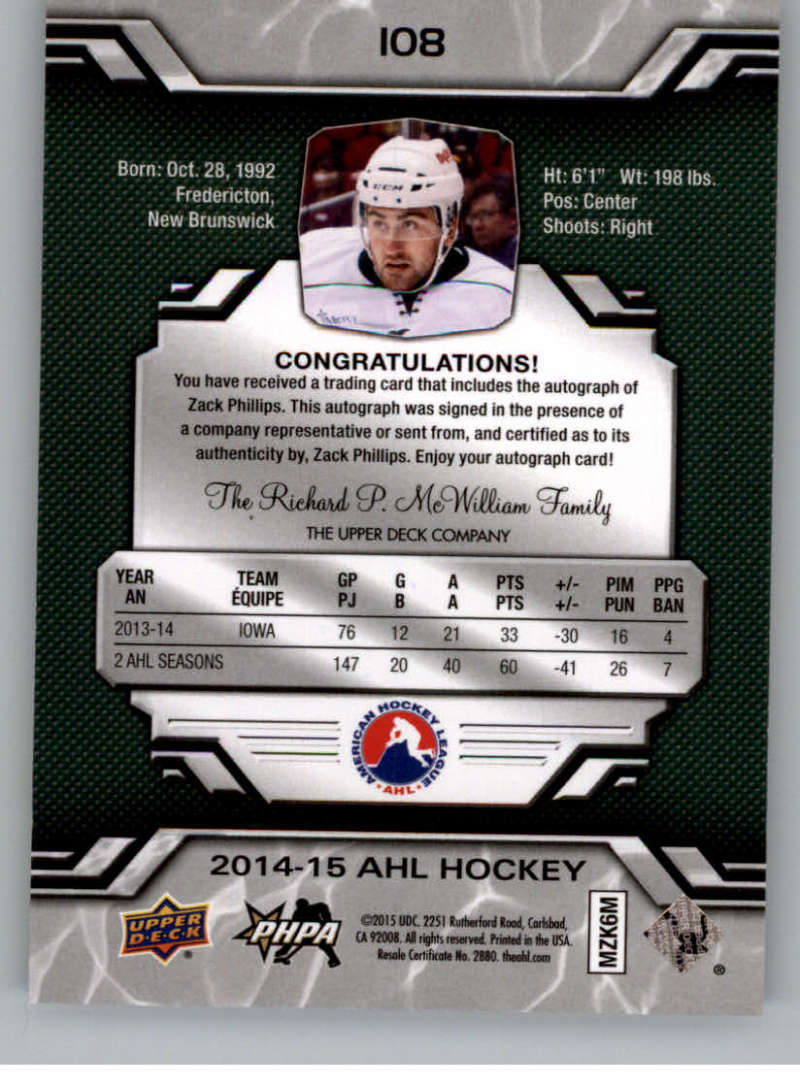 2014-15-Upper-Deck-AHL-Autographs-Stickers-Patch-Cards-Pick-From-List thumbnail 113