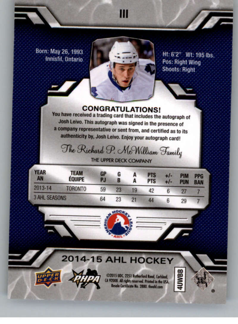 2014-15-Upper-Deck-AHL-Autographs-Stickers-Patch-Cards-Pick-From-List thumbnail 119