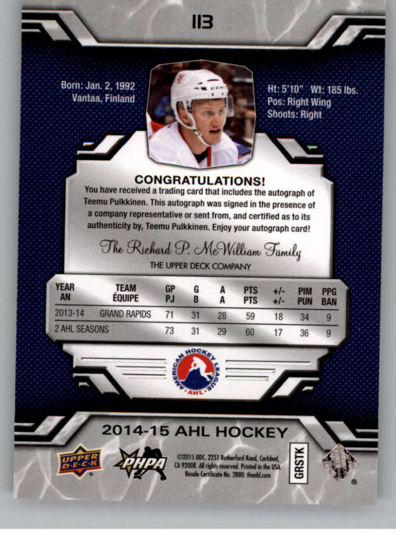 2014-15-Upper-Deck-AHL-Autographs-Stickers-Patch-Cards-Pick-From-List thumbnail 121