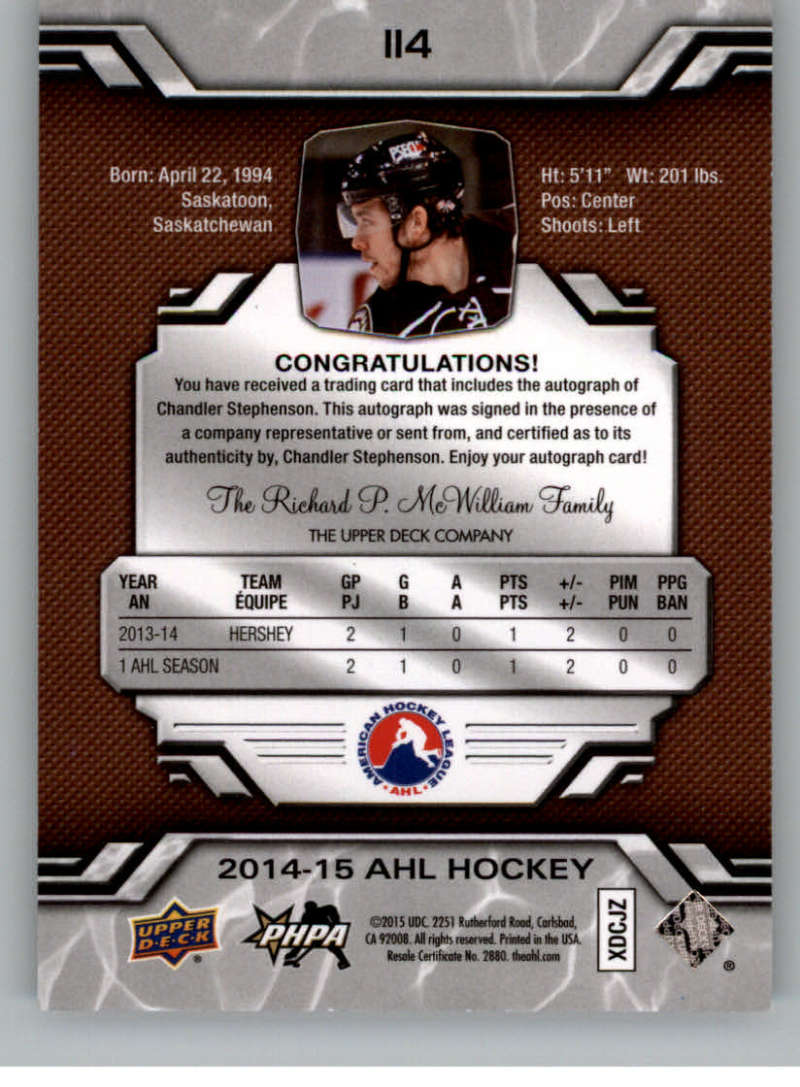 2014-15-Upper-Deck-AHL-Autographs-Stickers-Patch-Cards-Pick-From-List thumbnail 123
