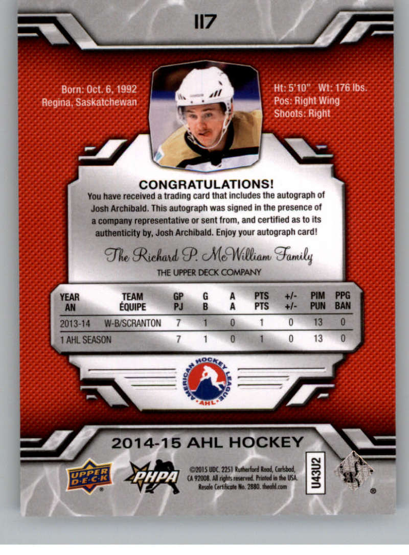 2014-15-Upper-Deck-AHL-Autographs-Stickers-Patch-Cards-Pick-From-List thumbnail 127