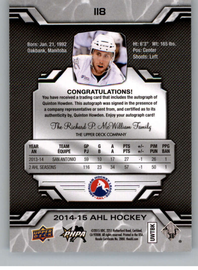 2014-15-Upper-Deck-AHL-Autographs-Stickers-Patch-Cards-Pick-From-List thumbnail 129