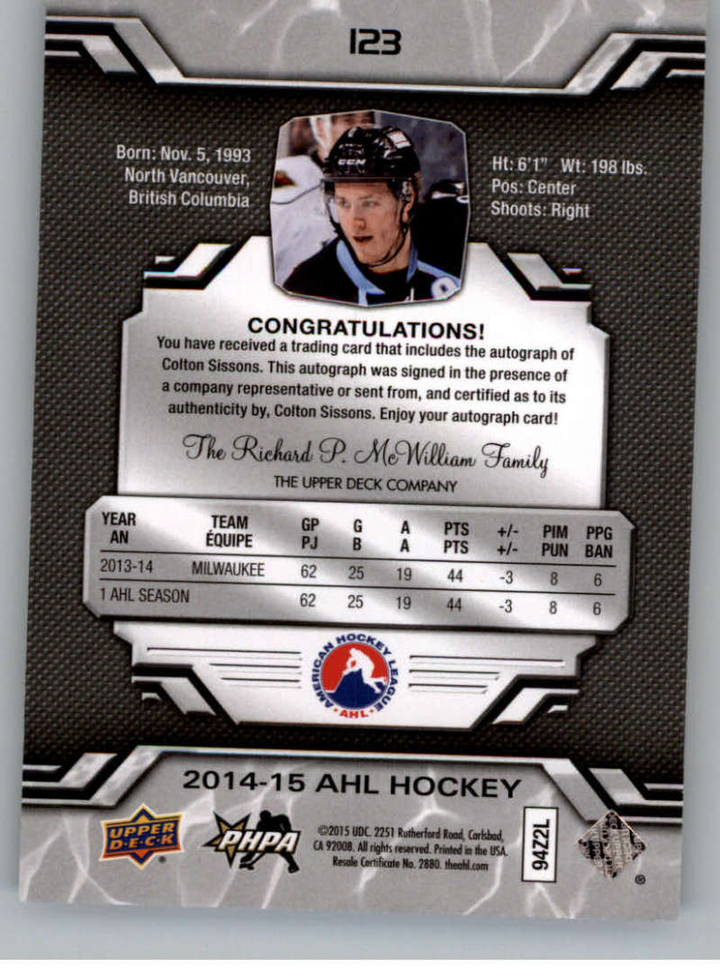 2014-15-Upper-Deck-AHL-Autographs-Stickers-Patch-Cards-Pick-From-List thumbnail 139