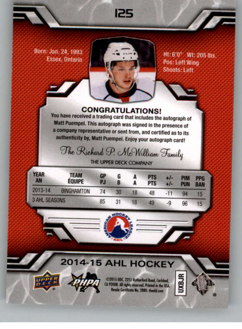 2014-15-Upper-Deck-AHL-Autographs-Stickers-Patch-Cards-Pick-From-List thumbnail 143