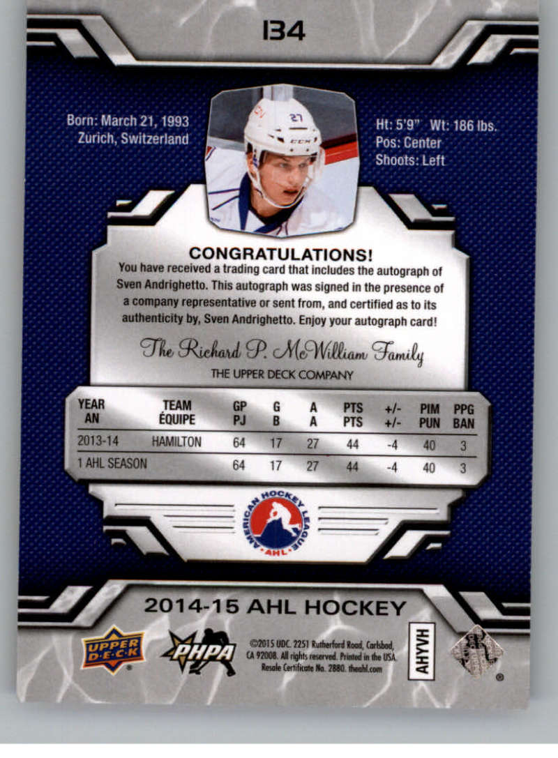2014-15-Upper-Deck-AHL-Autographs-Stickers-Patch-Cards-Pick-From-List thumbnail 149
