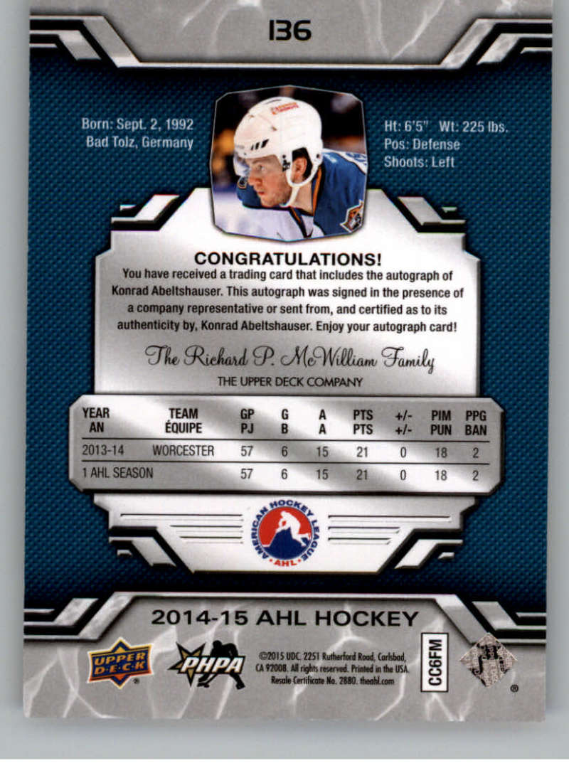 2014-15-Upper-Deck-AHL-Autographs-Stickers-Patch-Cards-Pick-From-List thumbnail 151