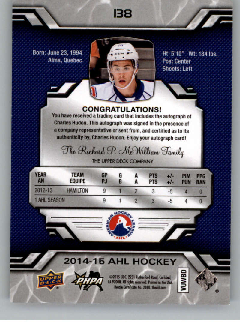 2014-15-Upper-Deck-AHL-Autographs-Stickers-Patch-Cards-Pick-From-List thumbnail 153