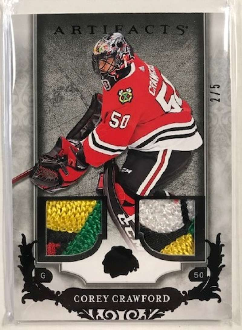 2018-19 Upper Deck Artifacts Material Black Relics #38 Corey Crawford NM-MT Jersey/Relic SER/5 Chicago Blackhawks