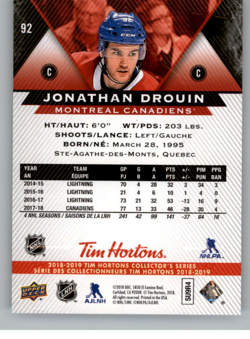 2018-19-Upper-Deck-Tim-Hortons-NHL-Hockey-Cards-Base-and-Inserts-Pick-From-List miniature 61