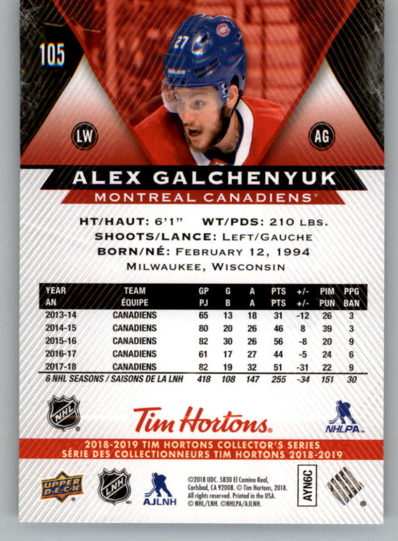2018-19-Upper-Deck-Tim-Hortons-NHL-Hockey-Cards-Base-and-Inserts-Pick-From-List miniature 67