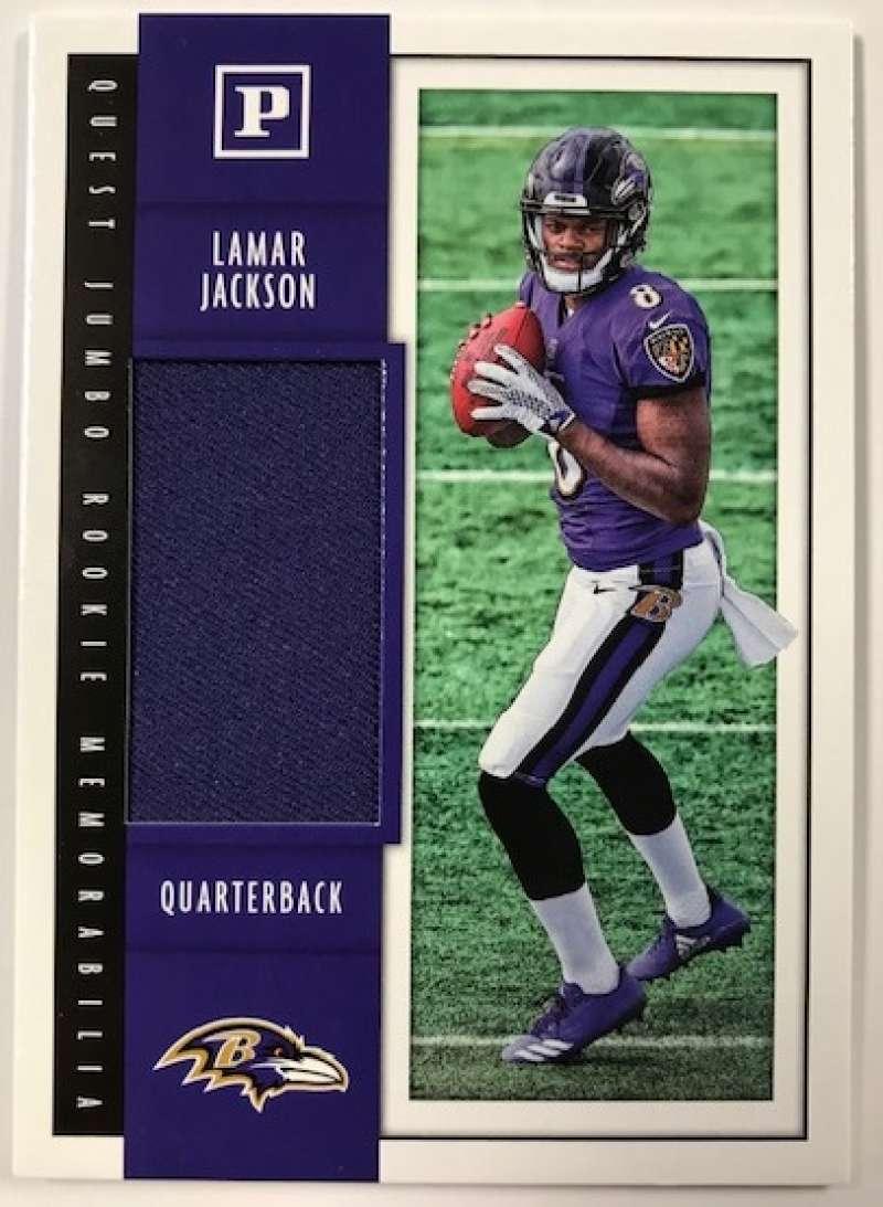 2018 Panini Quest Jumbo Rookie Memorabilia Football Card #17 Lamar Jackson Jersey/Relic Baltimore Ravens  Official NFL Trading Card