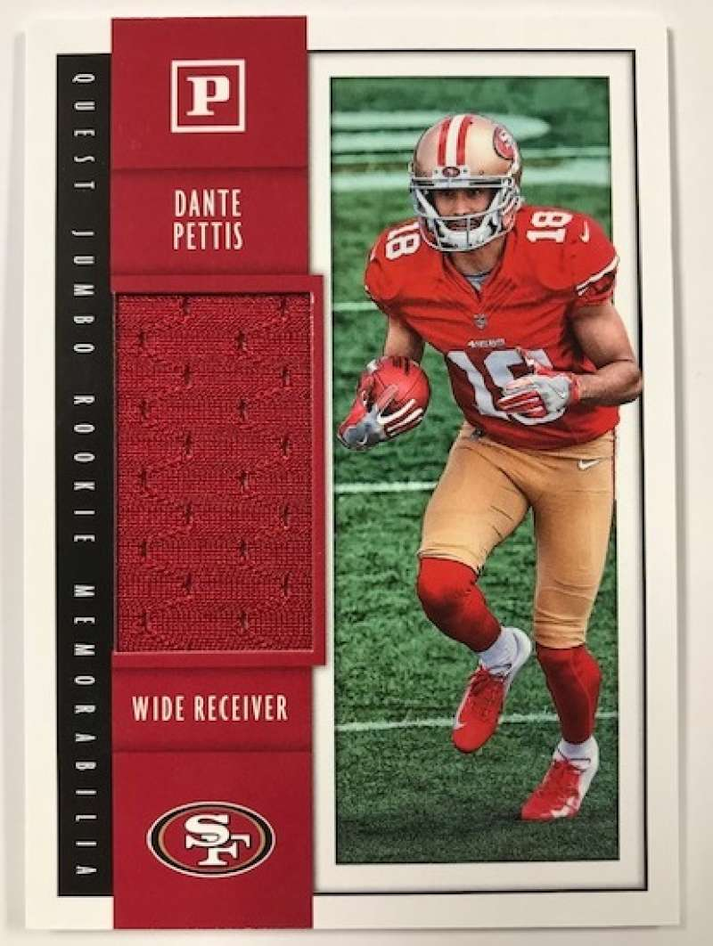 2018 Panini Quest Jumbo Rookie Memorabilia Football Card #32 Dante Pettis Jersey/Relic San Francisco 49ers  Official NFL Trading Card