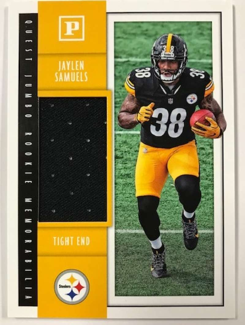 2018 Panini Quest Jumbo Rookie Memorabilia Football Card #33 Jaylen Samuels Jersey/Relic Pittsburgh Steelers  Official NFL Trading Card