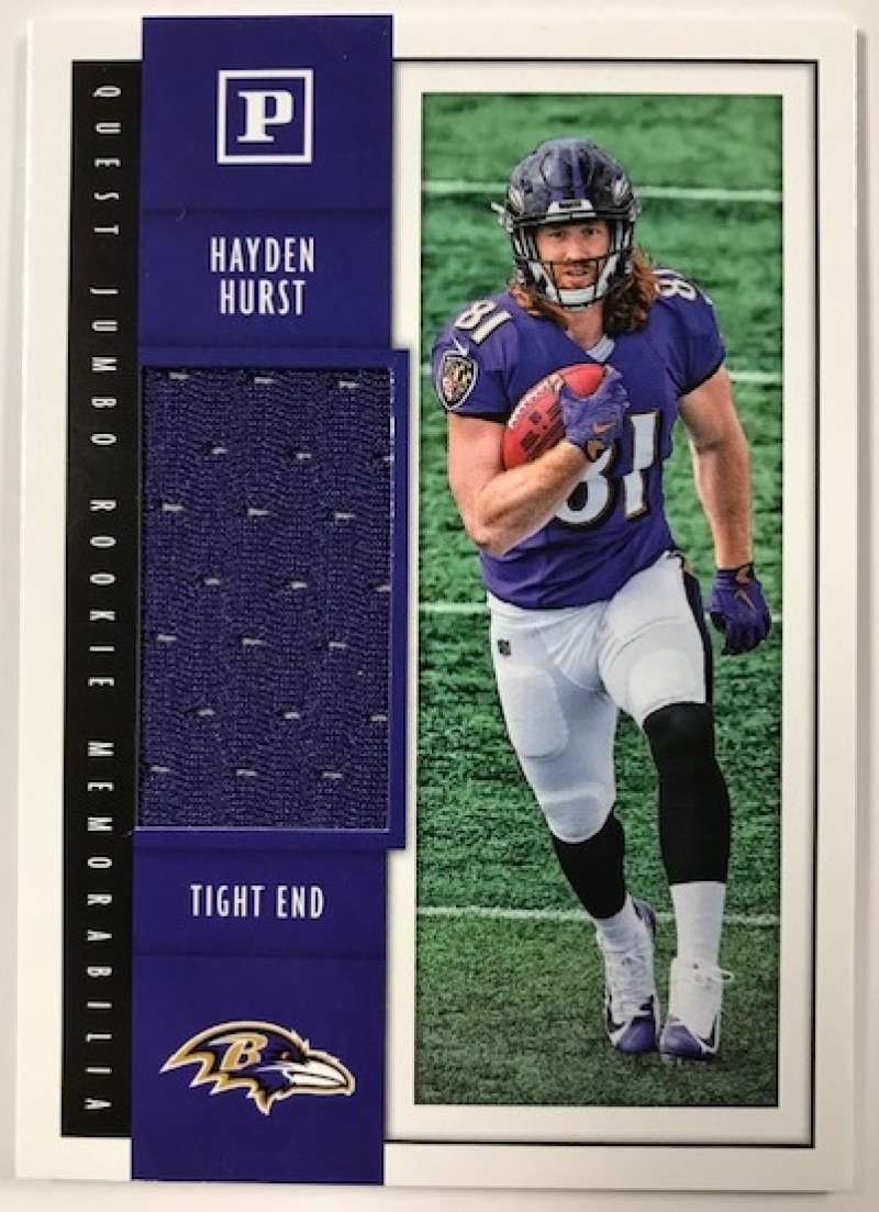 2018 Panini Quest Jumbo Rookie Memorabilia Football Card #39 Hayden Hurst Jersey/Relic Baltimore Ravens  Official NFL Trading Card