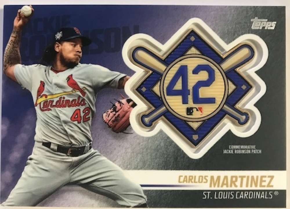 2018 Topps Update and Highlights Baseball Series Jackie Robinson Day Manufactured Medallion Patch #JRP-CM Carlos Martine Official MLB Trading Card