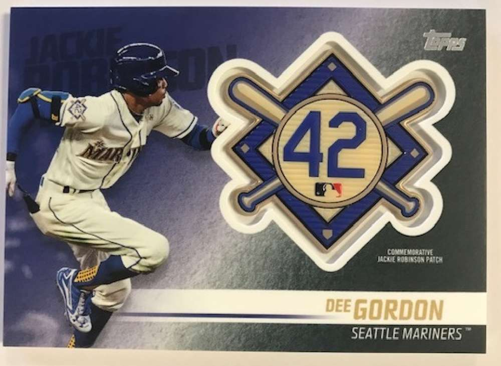 2018 Topps Update and Highlights Baseball Series Jackie Robinson Day Manufactured Medallion Patch #JRP-DG Dee Gordon Sea Official MLB Trading Card