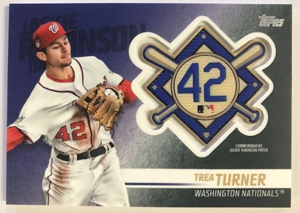 2018 Topps Update and Highlights Baseball Series Jackie Robinson Day Manufactured Medallion Patch #JRP-TT Trea Turner Wa Official MLB Trading Card