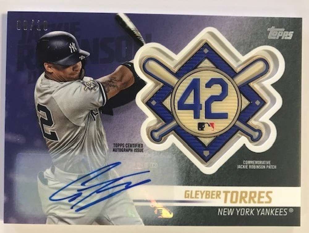 2018 Topps Update and Highlights Baseball Series Jackie Robinson Day Manufactured Autographed Medallion Patch #JRAP-GO G Official MLB Trading Card