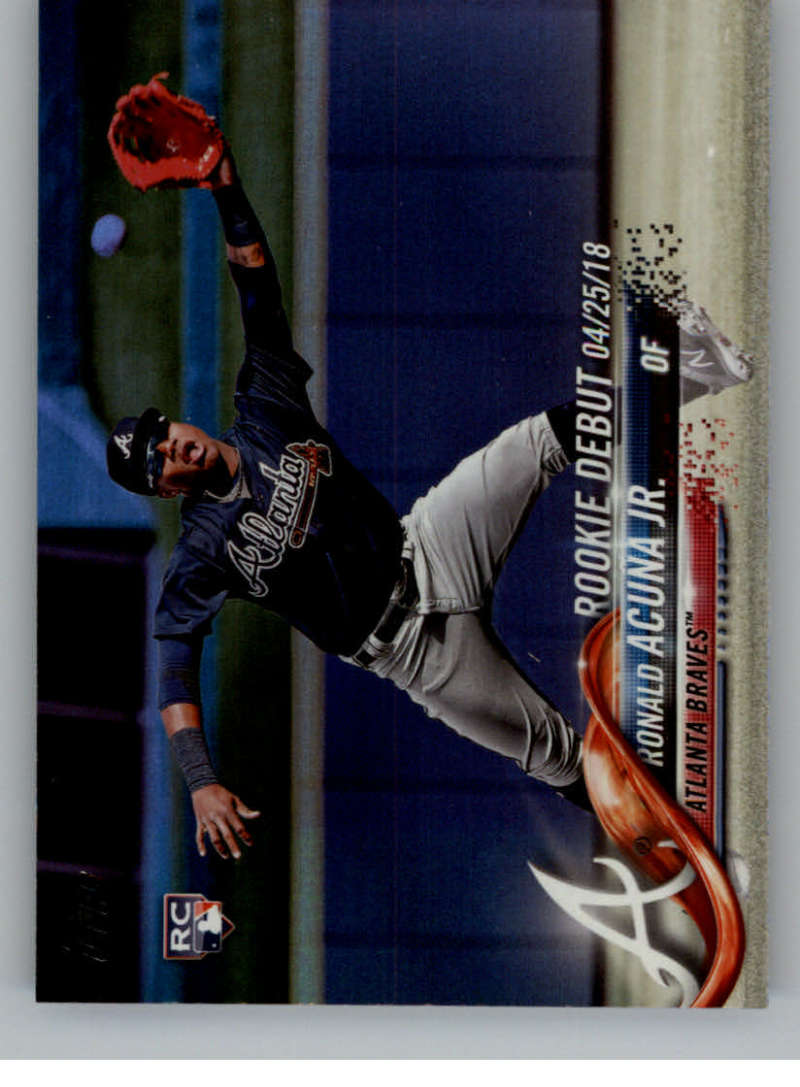 2018 MLB Topps Update Rainbow Foil US252 Ronald Acuna Jr. RC Rookie Atlanta Braves  RC Rookie  Official Baseball Trading Card