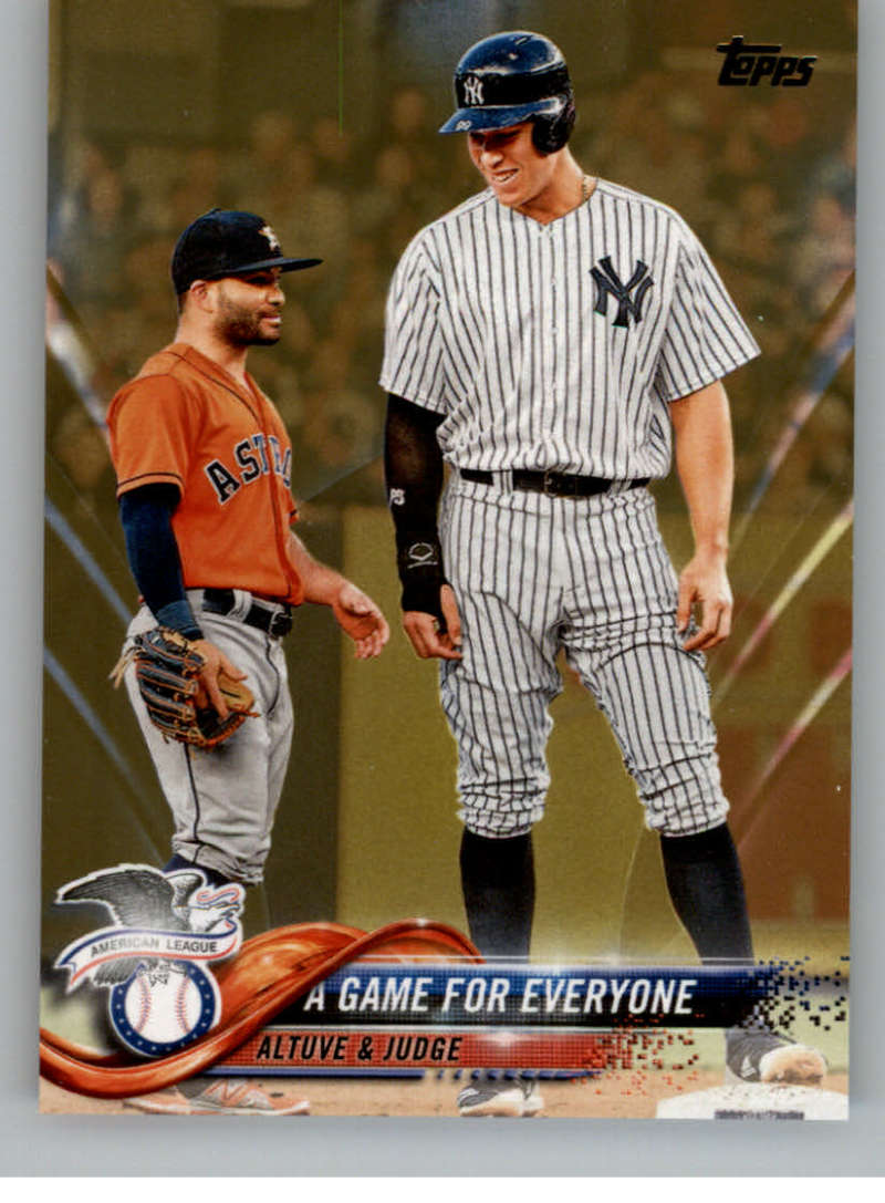 2018 MLB Topps Update Gold SER2018 US79 Jose Altuve Aaron Judge A Game For Everyone Astros Yankees Official Baseball Trading Card