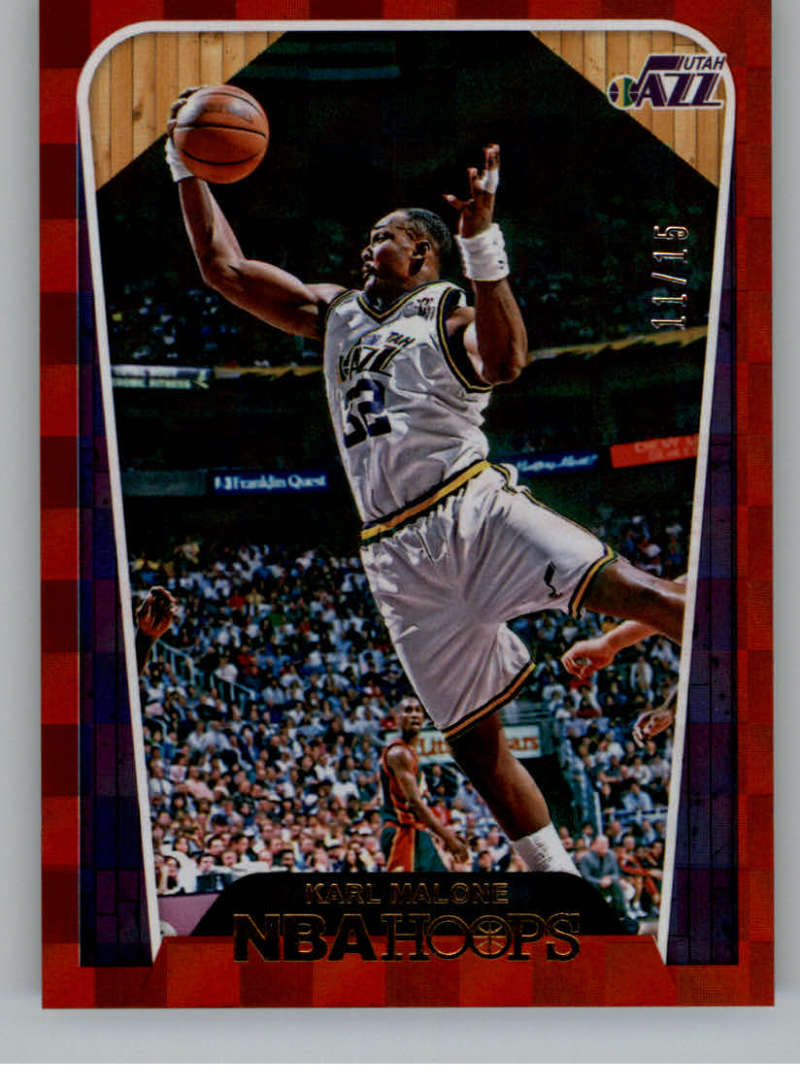 2018-19 NBA Hoops Red Checkerboard #294 Karl Malone Tribute SER/15 Utah Jazz  Official Trading Card made by Panini