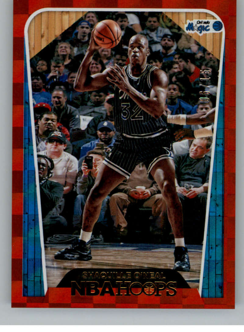 2018-19 NBA Hoops Red Checkerboard #298 Shaquille O'Neal Tribute SER/15 Orlando Magic  Official Trading Card made by Panini