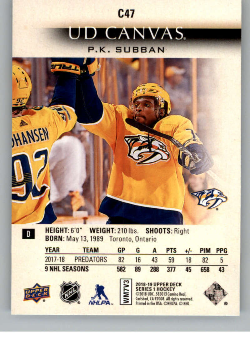 2018-19-Upper-Deck-Canvas-18-19-UD-Series-One-Hockey-Cards-Pick-From-List miniature 55