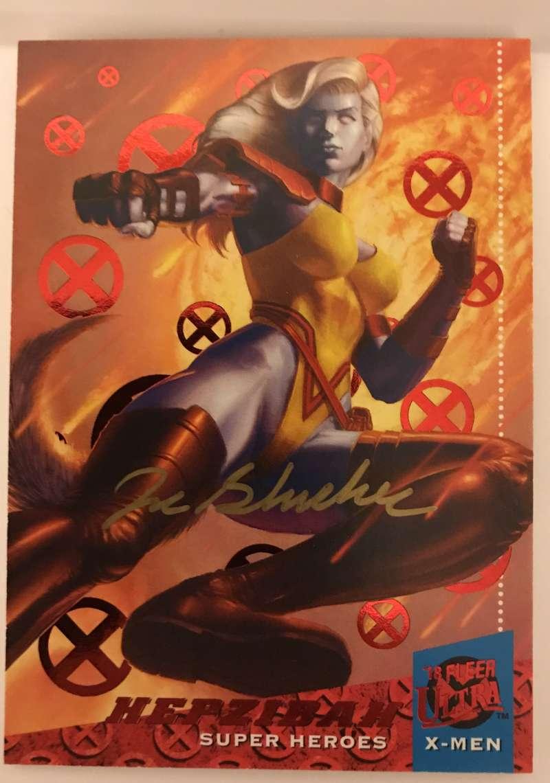 2018 Fleer Ultra X-Men Red Foil Artist Autographs Non Sport #29 Hepzibah Auto Autograph SER/50 Joe Slucher  Official Marvel Trading Card by Upper Deck