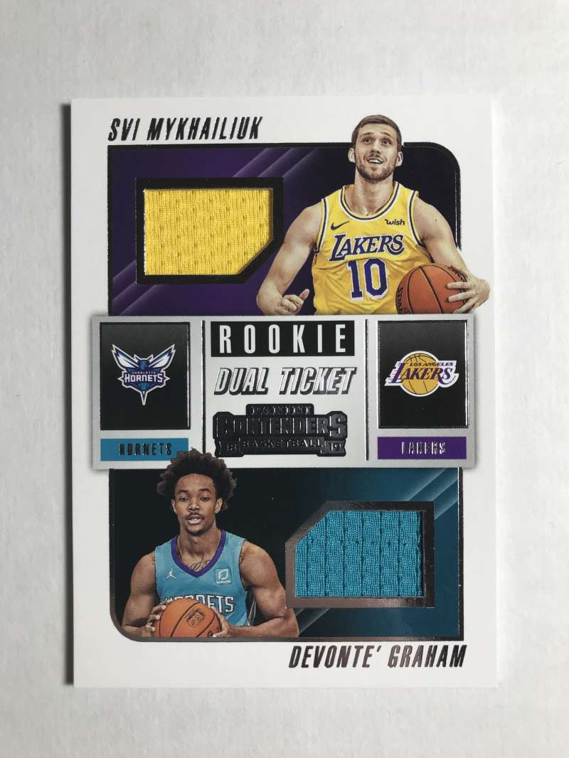 2018-19 Panini Contenders Rookie Ticket Dual Swatches Basketball Devonte' Graham/Svi Mykhailiuk Jersey/Relic Charlotte H Official NBA Card From Panini