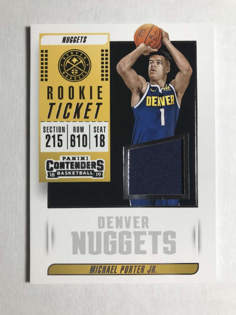 2018-19 Panini Contenders Rookie Ticket Swatches Basketball Michael Porter Jr. Jersey/Relic Denver Nuggets  Official NBA Card From Panini