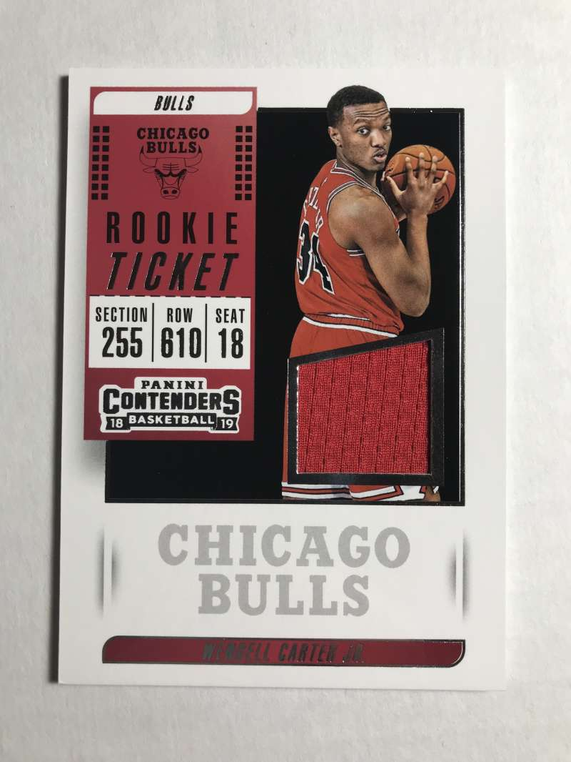 2018-19 Panini Contenders Rookie Ticket Swatches Basketball Wendell Carter Jr. Jersey/Relic Chicago Bulls  Official NBA Card From Panini