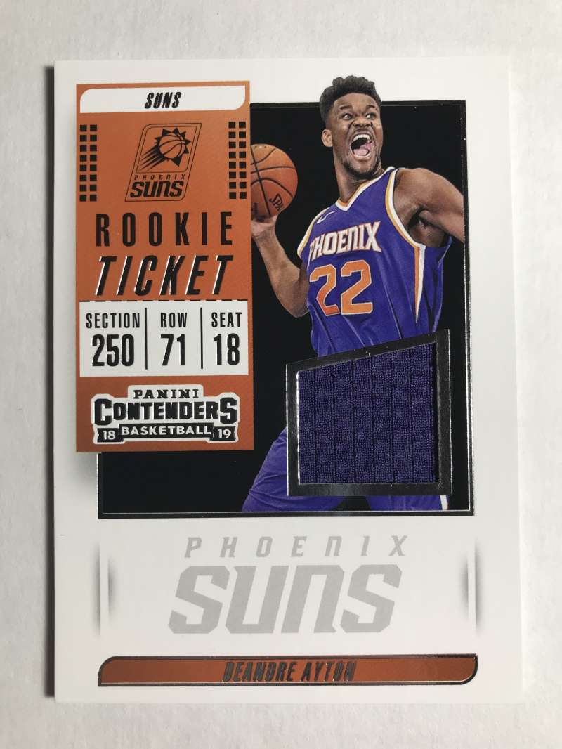 2018-19 Panini Contenders Rookie Ticket Swatches Basketball Deandre Ayton Blue Jersey/Relic Phoenix Suns  Official NBA Card From Panini