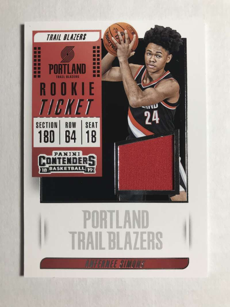 2018-19 Panini Contenders Rookie Ticket Swatches Basketball Anfernee Simons Jersey/Relic Portland Trail Blazers  Official NBA Card From Panini