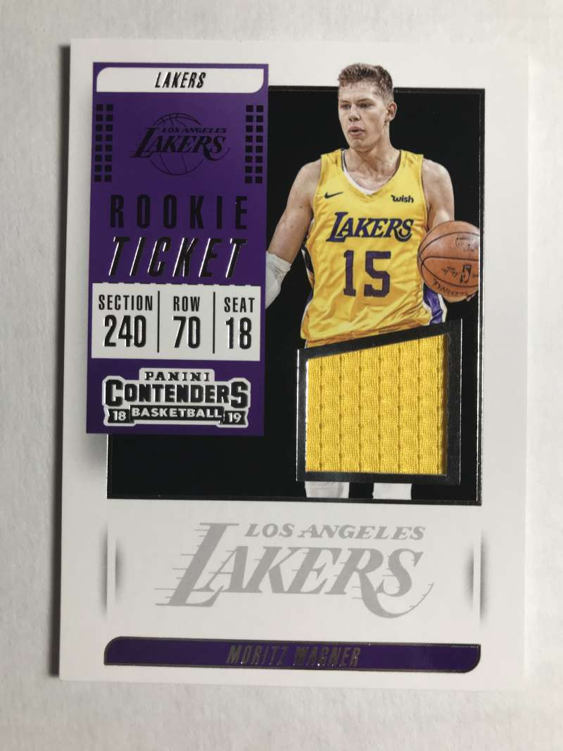 2018-19 Panini Contenders Rookie Ticket Swatches Basketball Moritz Wagner Jersey/Relic Los Angeles Lakers  Official NBA Card From Panini