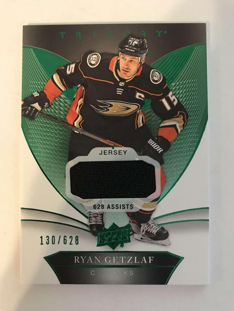 2018-19 Upper Deck Trilogy Green Foil Jerseys Hockey #31 Ryan Getzlaf Jersey/Relic SER/628 Anaheim Ducks  Official Trading Card From UD