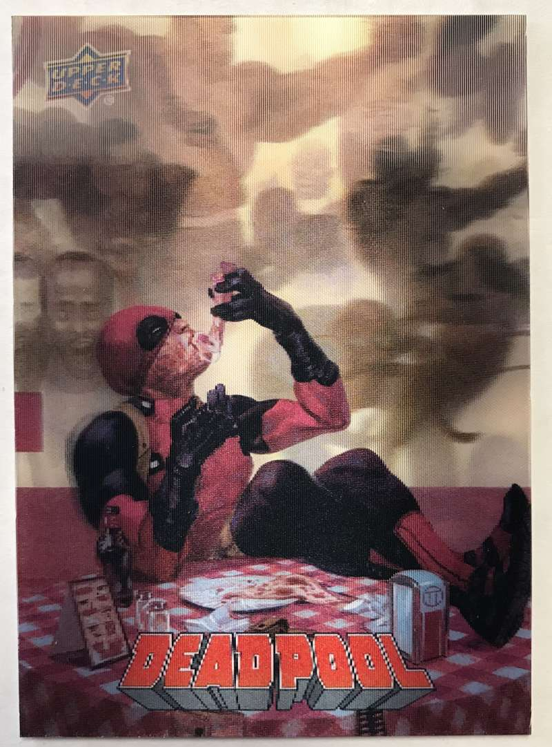 2019 Upper Deck Deadpool 3-D Lenticulars Tier 2 NonSport Trading Card #3D35 Pizza Time  Official UD Trading Card Celebrating Deadpool Comic Book