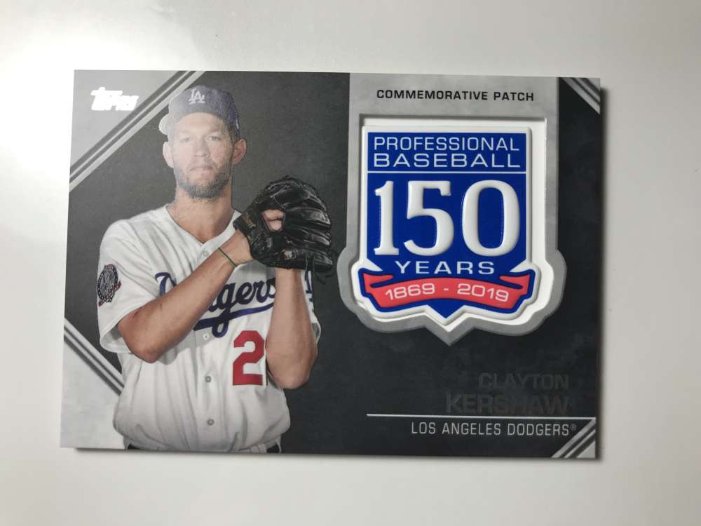 2019 Topps 150th Anniversary Commemorative Patches Baseball #AMP-CK Clayton Kershaw Los Angeles Dodgers  Official MLB Trading Card By Topps