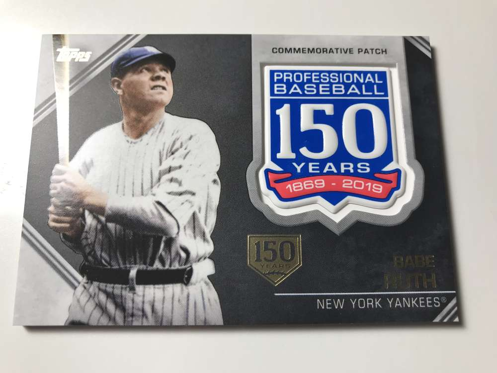 2019 Topps 150th Anniversary Commemorative Patches 150th Anniversary Baseball #AMP-BRU Babe Ruth SER/150 New York Yankee Official MLB Trading Card By