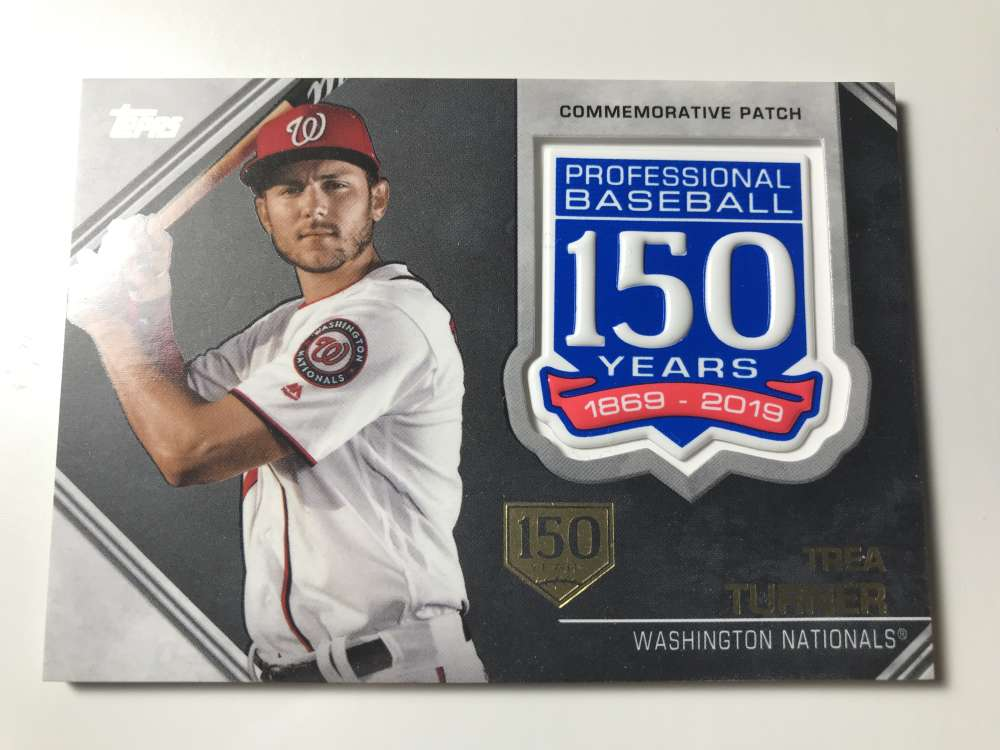 2019 Topps 150th Anniversary Commemorative Patches 150th Anniversary Baseball #AMP-TT Trea Turner SER/150 Washington Nat Official MLB Trading Card By