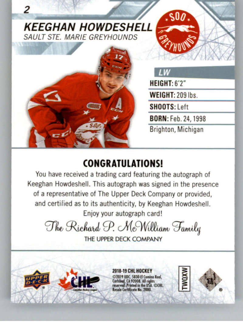 2018-19-Upper-Deck-CHL-Hockey-Autographed-Cards-Pick-From-List miniature 5