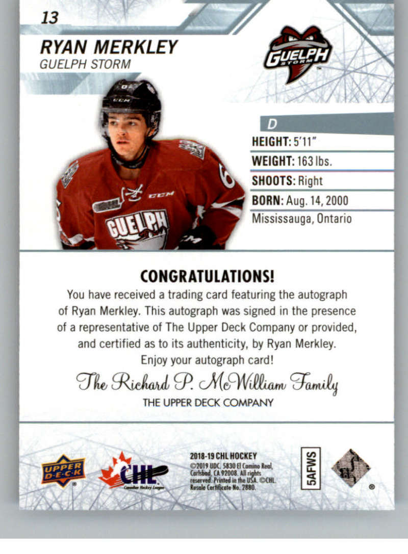 2018-19-Upper-Deck-CHL-Hockey-Autographed-Cards-Pick-From-List miniature 9
