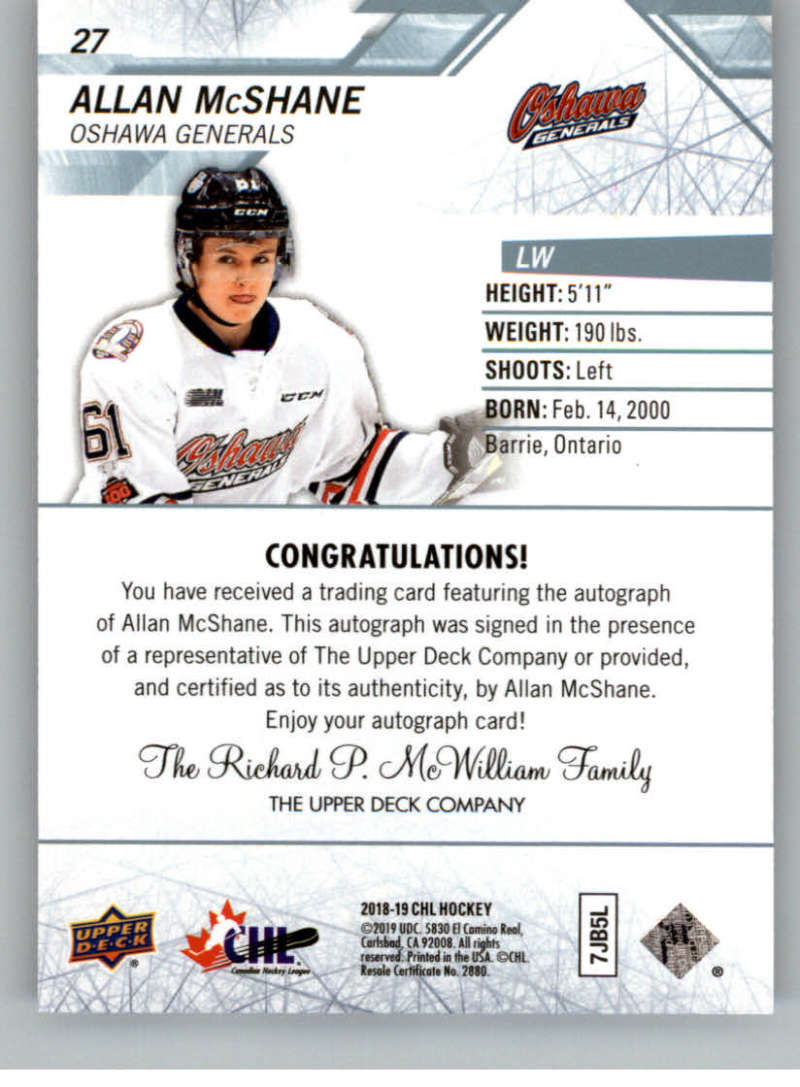 2018-19-Upper-Deck-CHL-Hockey-Autographed-Cards-Pick-From-List miniature 15