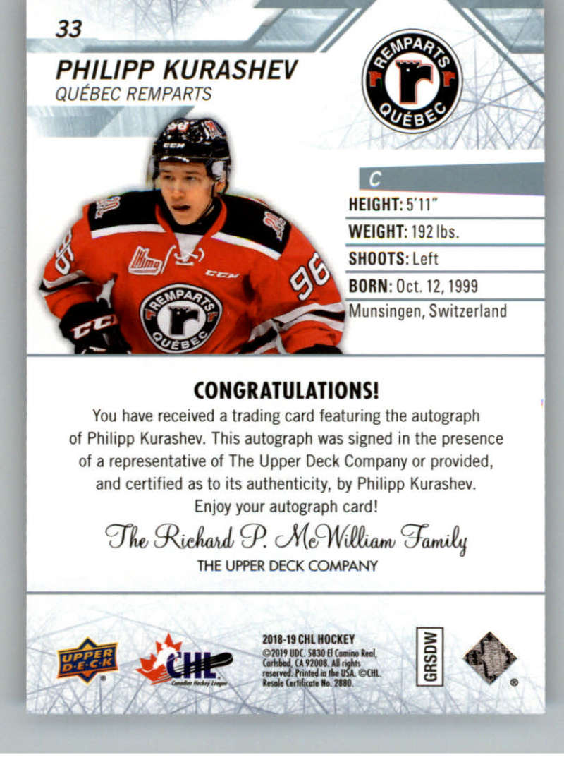 2018-19-Upper-Deck-CHL-Hockey-Autographed-Cards-Pick-From-List miniature 17