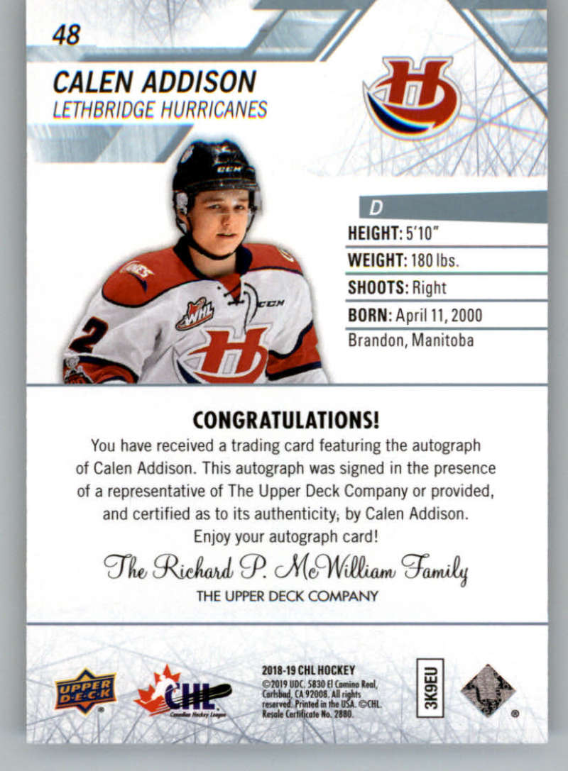 2018-19-Upper-Deck-CHL-Hockey-Autographed-Cards-Pick-From-List miniature 25