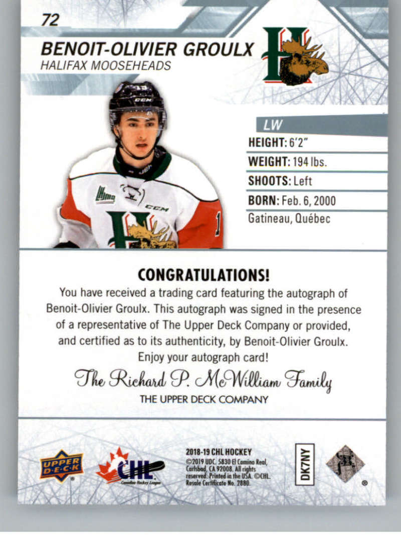 2018-19-Upper-Deck-CHL-Hockey-Autographed-Cards-Pick-From-List miniature 33