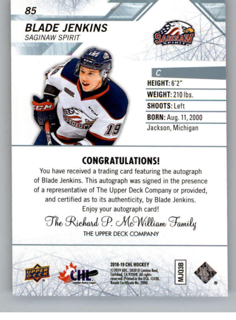 2018-19-Upper-Deck-CHL-Hockey-Autographed-Cards-Pick-From-List miniature 37