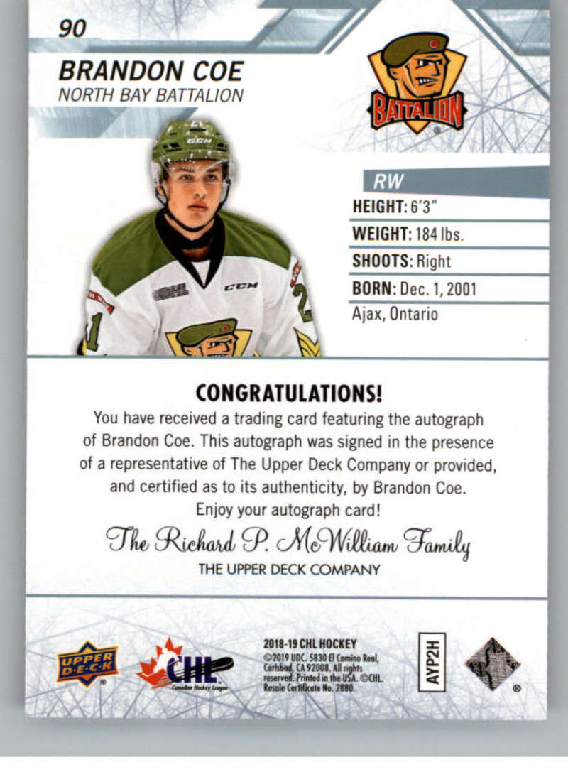 2018-19-Upper-Deck-CHL-Hockey-Autographed-Cards-Pick-From-List miniature 39