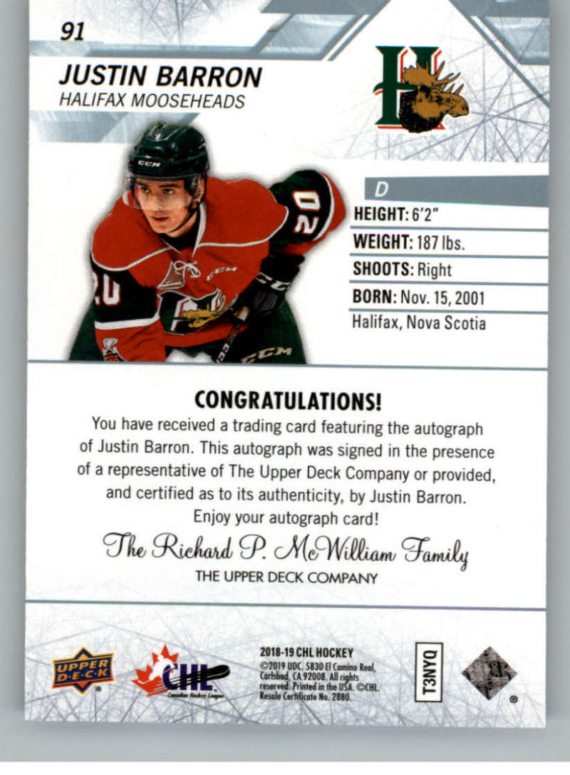 2018-19-Upper-Deck-CHL-Hockey-Autographed-Cards-Pick-From-List miniature 41